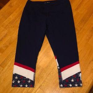 Red white and blue Reebok Capri leggings